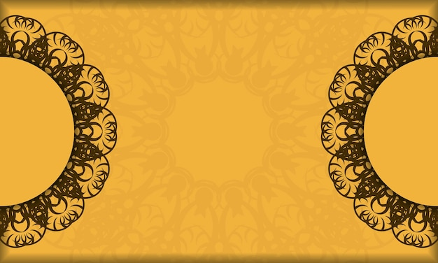Banner giallo con vecchio ornamento marrone e spazio logo