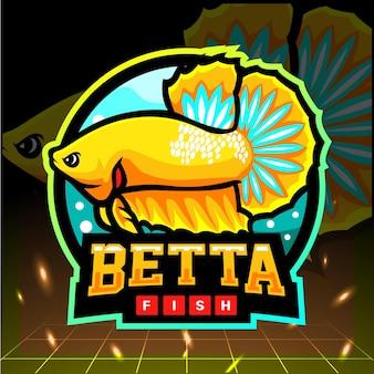 Mascotte di pesce betta giallo. design del logo esport