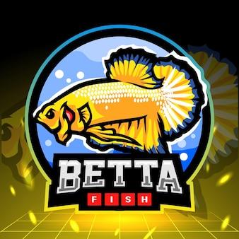 Betta pesce mascotte giallo esport logo design