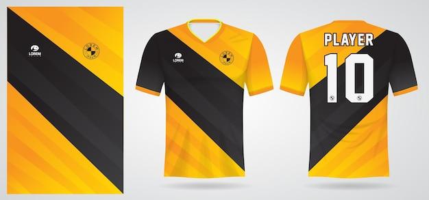 Modello di maglia sportiva gialla nera per le divise della squadra e il design della maglietta da calcio