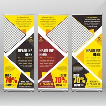 Banner in piedi giallo e nero