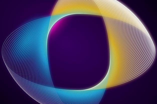 Sfondo di luci al neon astratto giallo e blu