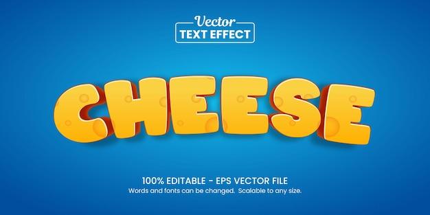 Effetto testo formaggio giallo e blu, effetto testo modificabile