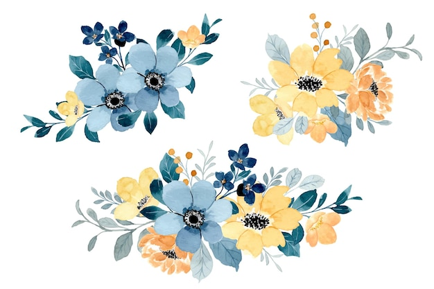 Collezione di bouquet floreale blu giallo con acquerello