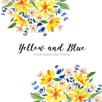 Modello per bordo cornice acquerello sciolto giallo e blu