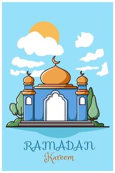 Moschea blu gialla con cielo ramadan kareem cartone animato