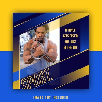 Modello di post di instagram di social media sportivo di sport giallo blu