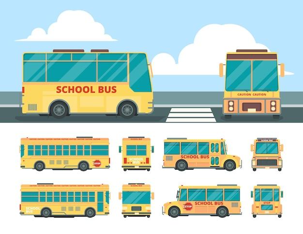 Autobus giallo. trasporto giornaliero scolastico per bus per bambini in diversi punti di vista del veicolo vettoriale. illustrazione scuolabus e navetta comunale per bambini