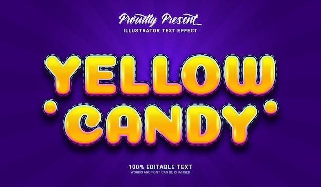 Effetto stile testo caramelle gialle. effetto di testo modificabile
