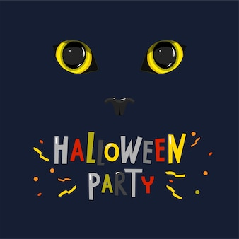 Occhi di gatto gialli su sfondo scuro e con la didascalia halloween party.