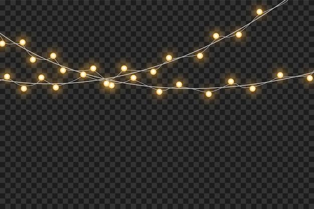 Giallo luci di natale isolati elementi di design realistico. luci di natale isolati su sfondo trasparente. ghirlanda luminosa di natale.