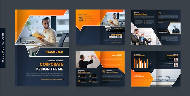 Modello di progettazione brochure aziendale moderno colore giallo tema scuro colorato