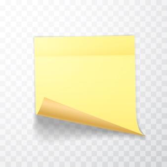 Foglio di carta per appunti di colore giallo con angolo arricciato e ombra