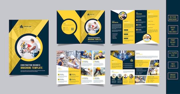 Modello di brochure di costruzione gialla