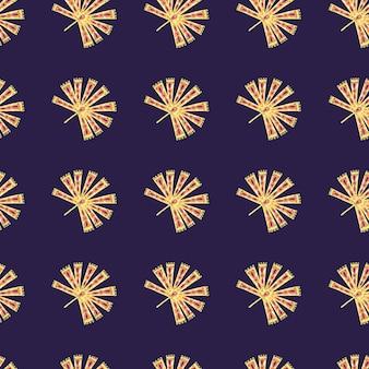 Motivo senza cuciture a contrasto giallo con ornamento di palma folk licuala su blu navy