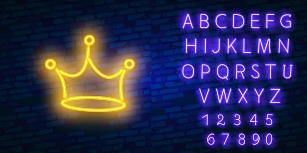 Elemento pubblicitario luminoso notte corona gialla