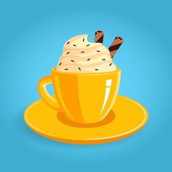 Tazza di caffè gialla con panna montata e bastoncini di biscotto in stile piano