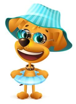 Cane giallo in cappello e con cerchio di nuoto. illustrazione divertente del fumetto