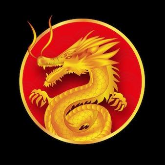 Drago giallo nel cerchio rosso isolato sul nero
