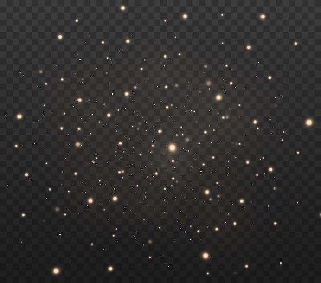 Polvere gialla bella luce lampeggiante le particelle di polvere volano nello spazio