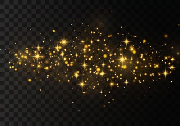 Polvere gialla, stelle dorate brillano di luce speciale.