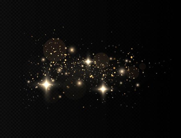 Lampi di luce gialla della polvere e particelle