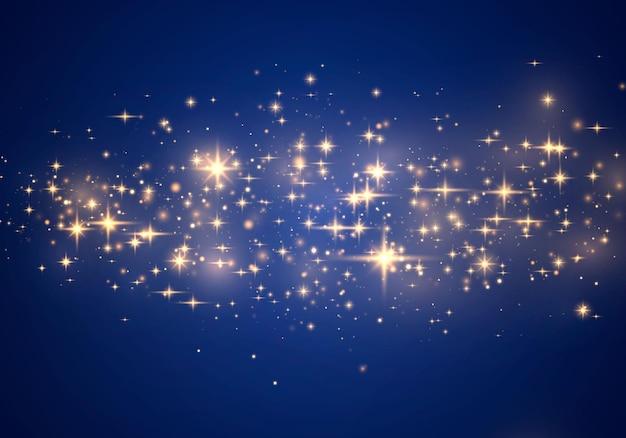 Scintille giallo polvere giallo e stelle dorate brillano di luce speciale. Vettore Premium