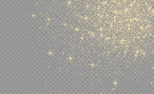 Scintille giallo polvere giallo e stelle dorate brillano di luce speciale.