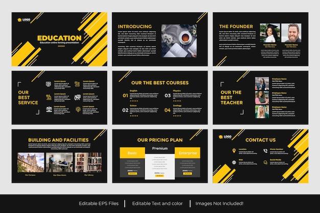 Progettazione di diapositive di presentazione powerpoint sull'istruzione gialla