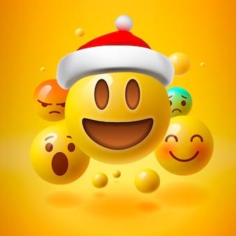 Emoticon gialle con cappello da babbo natale, concetto di emoji di natale, illustrazione