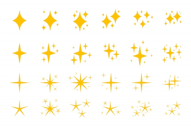 Insieme dell'icona di simboli di scintille piatte gialle.
