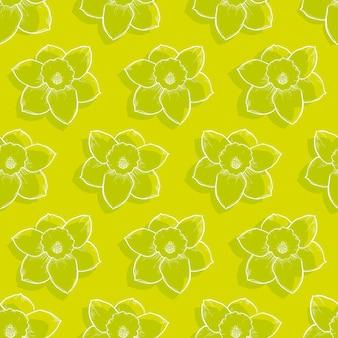 Reticolo senza giunte floreale giallo. illustrazione di vettore di narcisi disegnati a mano.