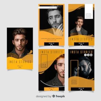 Modello di storie di instagram fluido giallo Vettore Premium