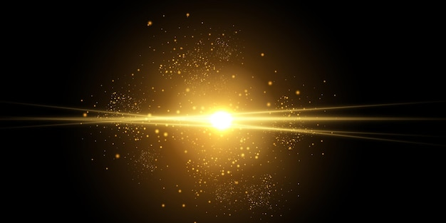 Esplosione di scoppio di luce incandescente gialla con scintillii di raggi