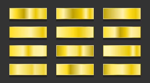 Set di gradienti metallici sfumati in oro giallo