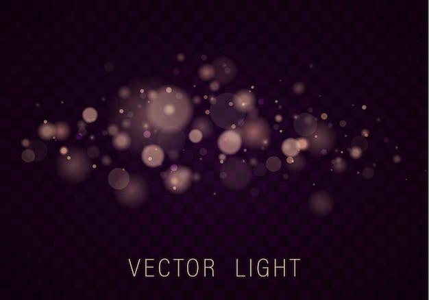 Effetto di luci d'ardore astratto del bokeh della luce dell'oro giallo isolato su fondo trasparente. festivo sfondo luminoso viola e dorato. concetto. cornice a luce sfocata.