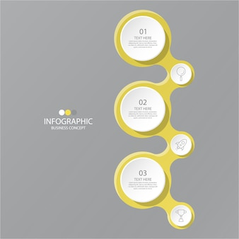 Colori giallo e grigio per infografica con icone di linea sottile. 3 opzioni o passaggi per le infografiche