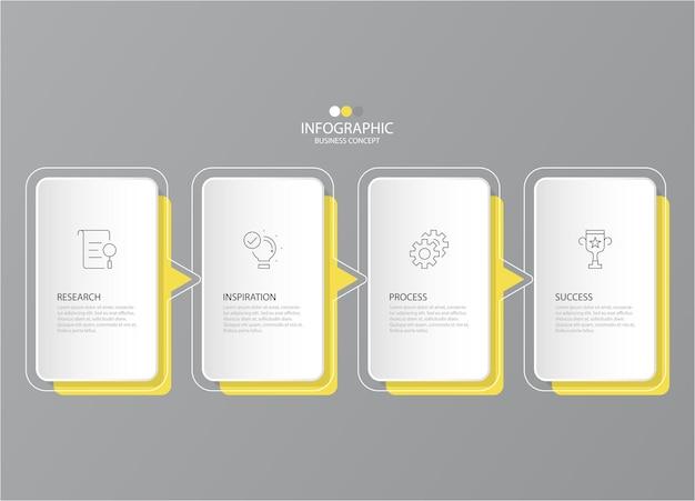 Colori giallo e grigio per infografica con icone di linea sottile. 4 opzioni o passaggi per le infografiche
