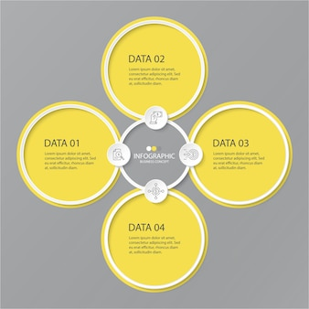 Colori giallo e grigio per infografica con icone di linea sottile. 4 opzioni o passaggi