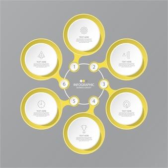 Colori giallo e grigio per infografica con icone di linea sottile. 6 opzioni o passaggi per le infografiche