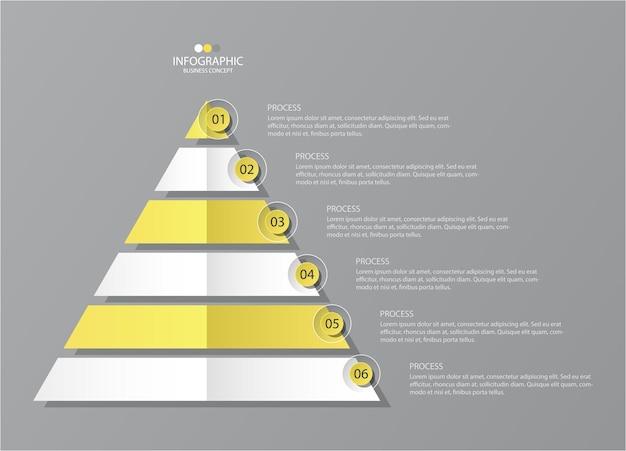 Infografica gialla e grigia con icone a linee sottili con 5 opzioni o passaggi