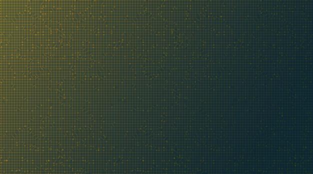 Microchip del circuito giallo verde su sfondo tecnologico, digitale hi-tech e concetto di sicurezza
