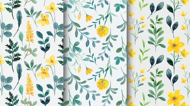Raccolta senza cuciture del modello dell'acquerello floreale selvaggio verde giallo