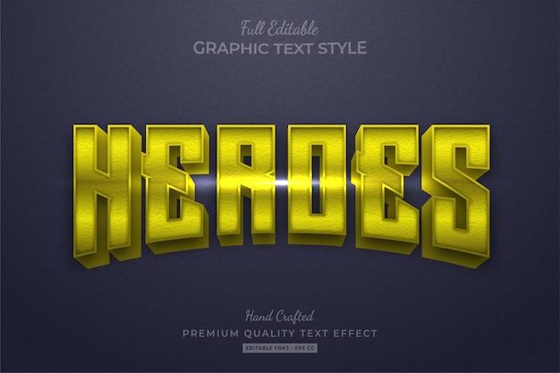 Stile carattere modificabile per effetti di testo di yellow heroes