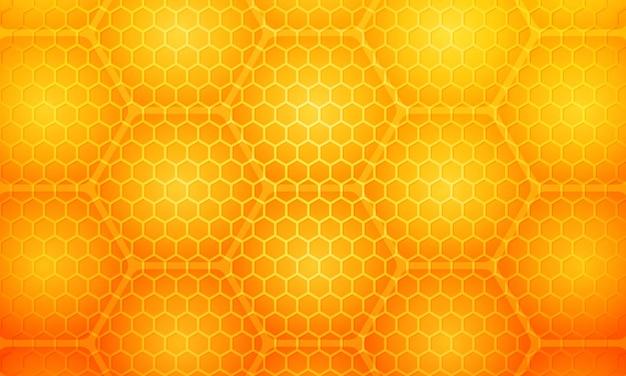 Trama di cellule esagonali a nido d'ape alveare di miele giallo