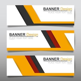Modello di layout di banner orizzontale business giallo.