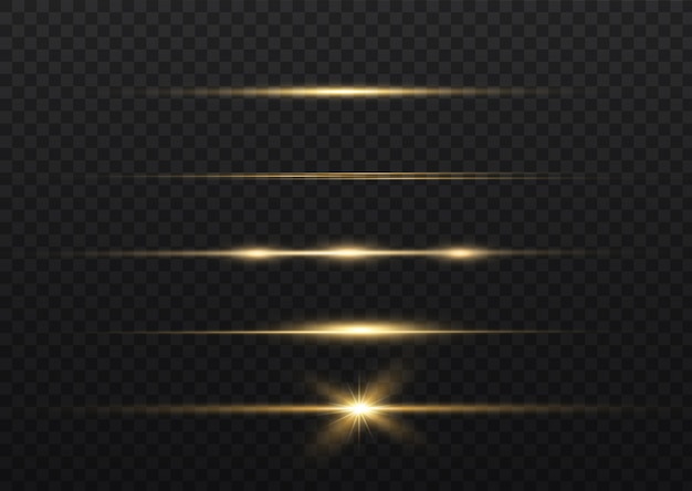 Razzi gialli con lenti orizzontali. raggi laser, raggi di luce orizzontali. razzi luminosi.