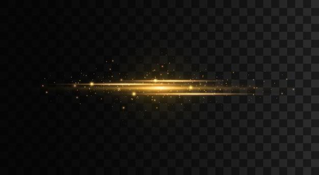 Pacchetto di bagliori di lenti orizzontali gialle raggi laser le linee di raggi di luce orizzontali lampeggiano
