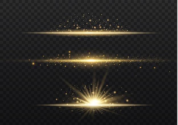 Confezione di lenti gialle orizzontali. raggi laser, raggi luminosi orizzontali.