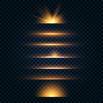 Confezione di lenti gialle orizzontali, raggi laser, raggi di luce orizzontali.